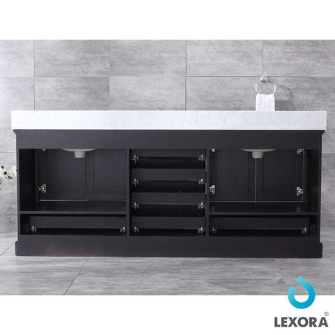 "Image of Dukes 80"" Espresso Double Vanity Carrara Marble Top Sinks & 30"" Wall Mirrors LD342280DGDSM30"