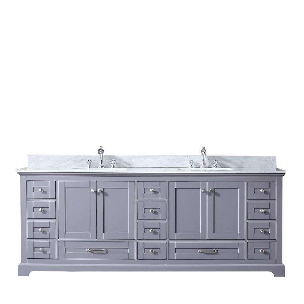 "Dukes 84"" Dark Grey Double Bath Vanity Cabinet Carrara Marble Top Square Sinks LD342284DBDS000"