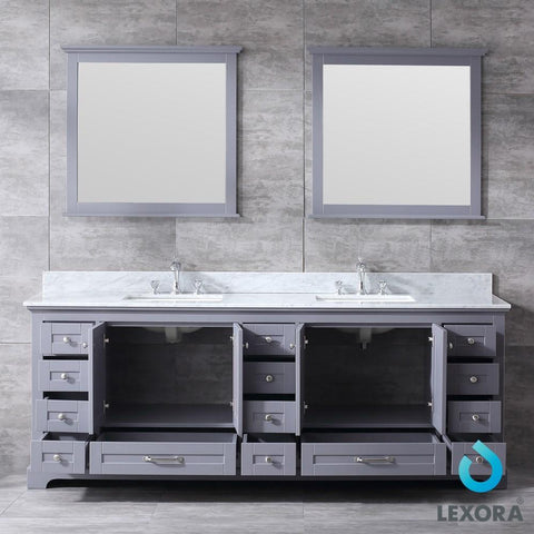 "Dukes 84"" Dark Grey Double Vanity Carrara Marble Top Sinks & 34"" Wall Mirrors LD342284DBDSM34"