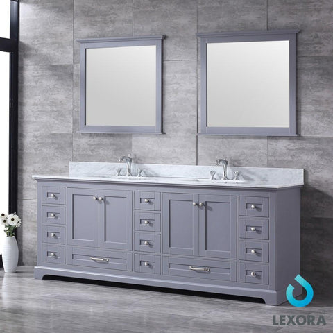 "Image of Dukes 84"" Dark Grey Double Vanity Carrara Marble Top Sinks & 34"" Wall Mirrors LD342284DBDSM34"