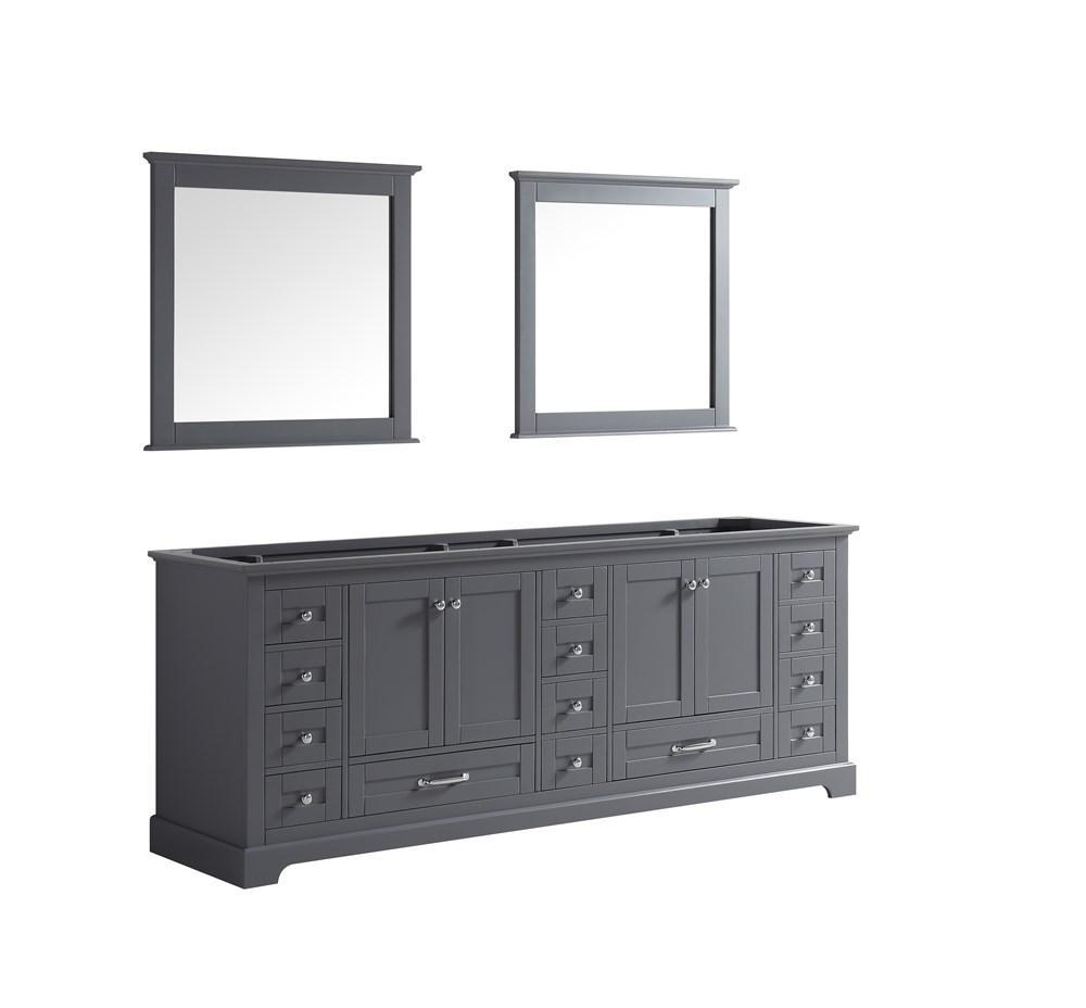 "Dukes 84"" Dark Grey Double Vintage Bathroom Vanity Cabinet & 34"" Wall Mirrors LD342284DB00M34"