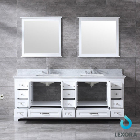 "Image of Dukes 84"" Double Vanity Cabinet Carrara Marble Top Sinks & 34"" Wall Mirrors LD342284DADSM34"