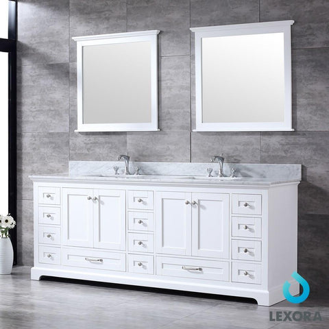 "Dukes 84"" Double Vanity Cabinet Carrara Marble Top Sinks & 34"" Wall Mirrors LD342284DADSM34"