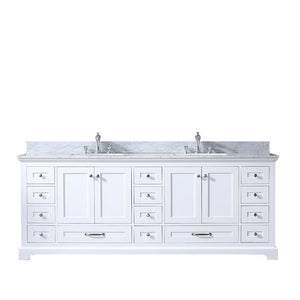 "Dukes 84"" Double Vintage Bathroom Vanity Cabinet Carrara Marble Top Square Sinks LD342284DADS000"
