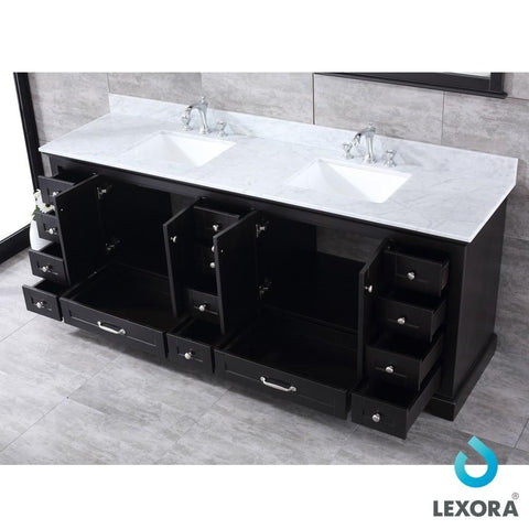 "Image of Dukes 84"" Espresso Double Vanity Carrara Marble Top Sinks & 34"" Wall Mirrors LD342284DGDSM34"
