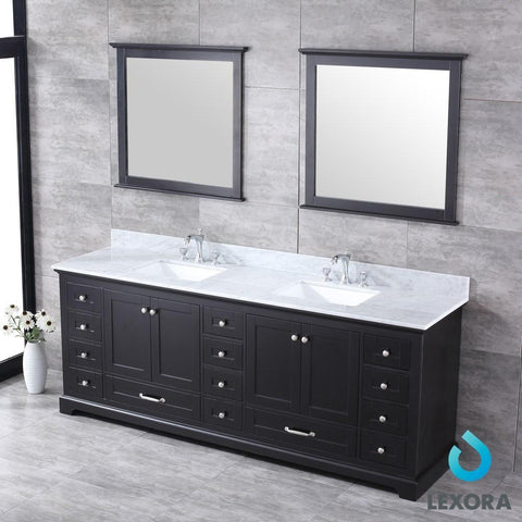 "Dukes 84"" Espresso Double Vanity Carrara Marble Top Sinks & 34"" Wall Mirrors LD342284DGDSM34"