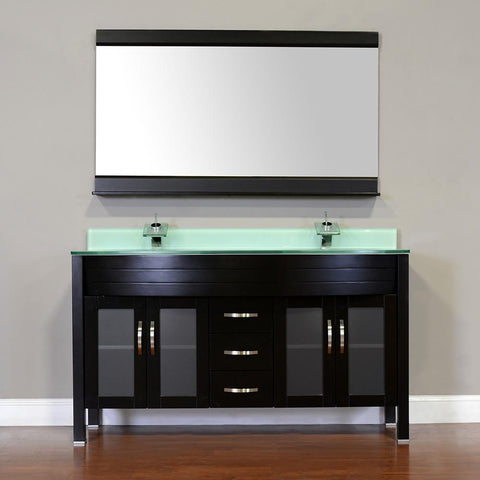 "Elite 60"" Double Modern Bathroom Vanity - Black with White Glass Top and Mirror AW-082-60-B-WGT-2M24"