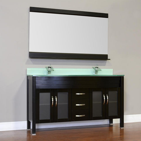 "Image of Elite 60"" Double Modern Bathroom Vanity - Black with White Glass Top and Mirror AW-082-60-B-WGT-2M24"