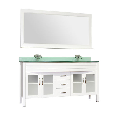 "Elite 60"" Double Modern Bathroom Vanity - White with White Glass Top and Mirror AW-082-60-W-WGT-2M24"