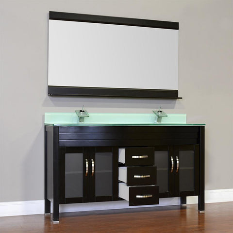 "Image of Elite 72"" Double Modern Bathroom Vanity - Black with Light Green Glass Top and Mirror AW-082-72-B-LGGT-2M24"