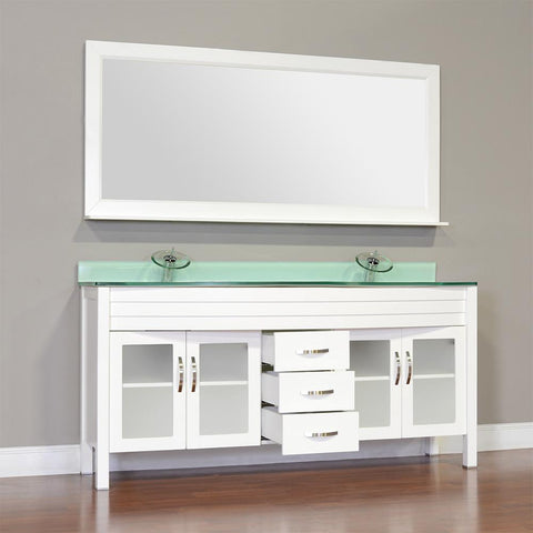 "Elite 72"" Double Modern Bathroom Vanity - White with Light Green Glass Top and Mirror AW-082-72-W-LGGT-2M24"