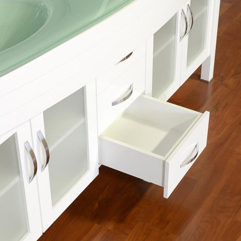 "Image of Elite 72"" Double Modern Bathroom Vanity - White with Light Green Glass Top and Mirror AW-082-72-W-LGGT-2M24"