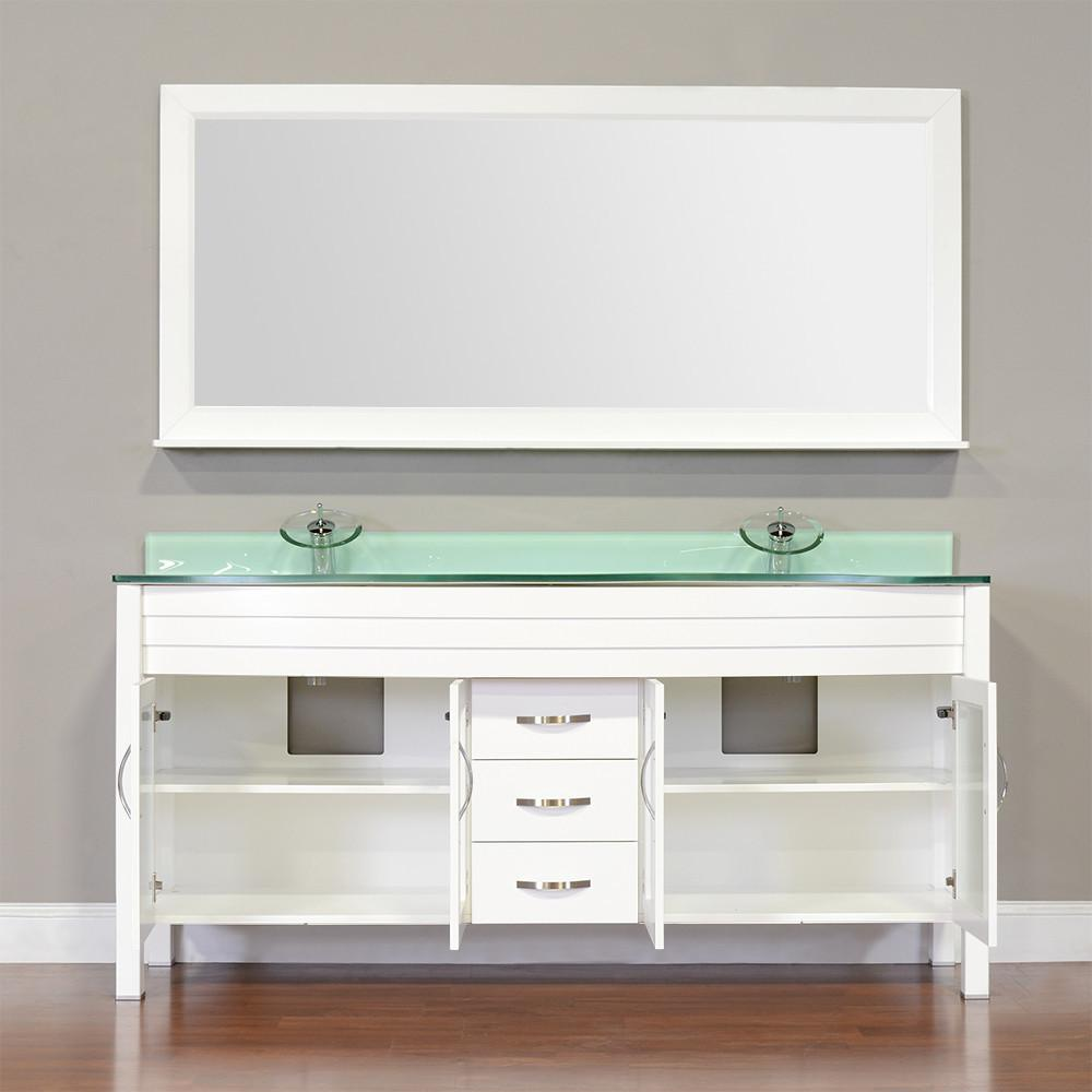 "Elite 72"" Double Modern Bathroom Vanity - White with White Glass Top and Mirror AW-082-72-W-WGT-2M24"