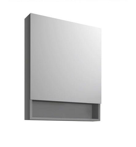 "Image of Fresca 24"" Gray Bathroom Medicine Cabinet w/ Small Bottom Shelf 