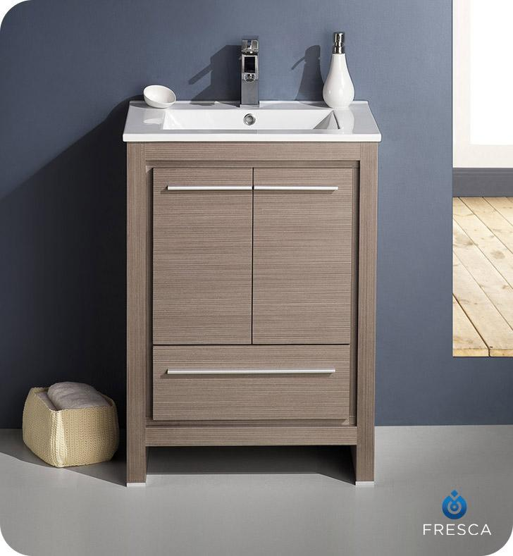 "Fresca Allier 24"" Gray Oak Modern Bathroom Cabinet w/ Sink FCB8125GO-I"