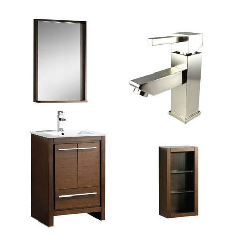 "Fresca Allier 24"" Wenge Brown Modern Single Bathroom Vanity w/ Mirror FVN8125 FVN8125WG-FFT1030BN-FST8130WG"