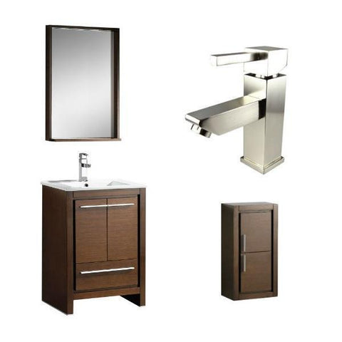 "Fresca Allier 24"" Wenge Brown Modern Single Bathroom Vanity w/ Mirror FVN8125 FVN8125WG-FFT1030BN-FST8140WG"