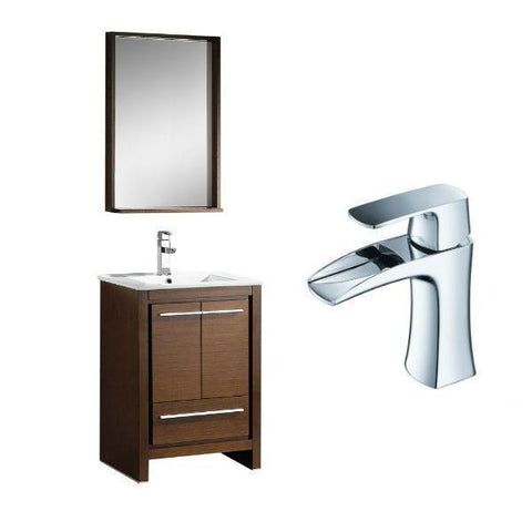 "Fresca Allier 24"" Wenge Brown Modern Single Bathroom Vanity w/ Mirror FVN8125 FVN8125WG-FFT3071CH"