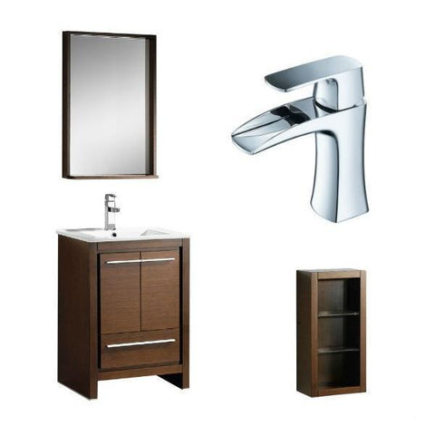"Fresca Allier 24"" Wenge Brown Modern Single Bathroom Vanity w/ Mirror FVN8125 FVN8125WG-FFT3071CH-FST8130WG"
