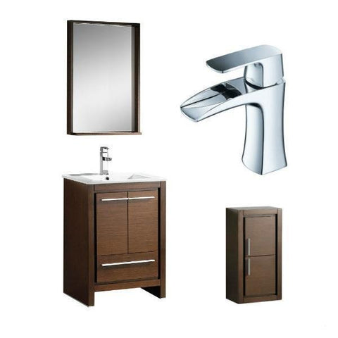 "Fresca Allier 24"" Wenge Brown Modern Single Bathroom Vanity w/ Mirror FVN8125 FVN8125WG-FFT3071CH-FST8140WG"
