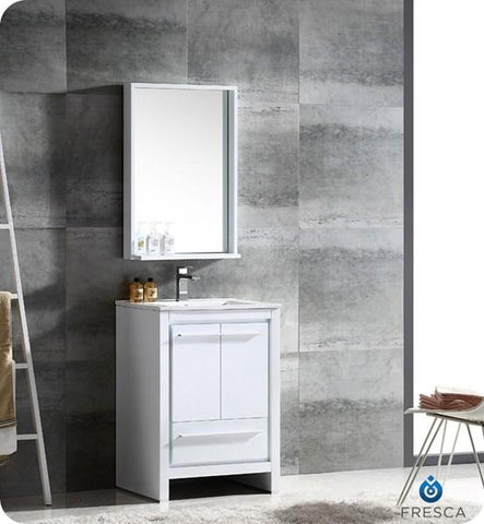 "Image of Fresca Allier 24"" White Modern Bathroom Vanity w/ Mirror 