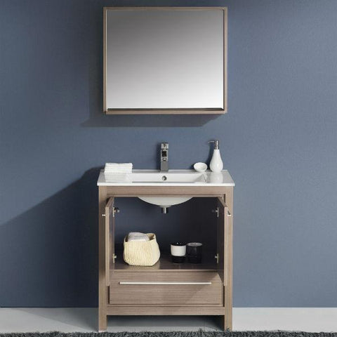"Image of Fresca Allier 30"" Gray Oak Modern Single Bathroom Vanity w/ Mirror FVN8130 FVN8130GO-FFT1030CH"
