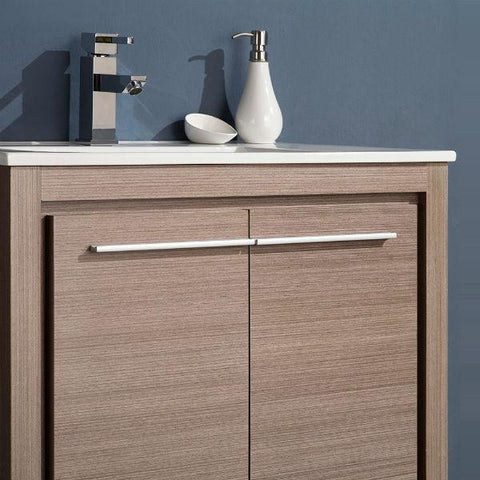 "Fresca Allier 30"" Gray Oak Modern Single Bathroom Vanity w/ Mirror FVN8130 FVN8130GO-FFT1030CH"