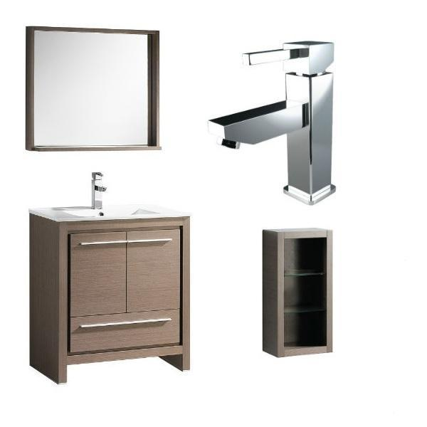 "Fresca Allier 30"" Gray Oak Modern Single Bathroom Vanity w/ Mirror FVN8130 FVN8130GO-FFT1030CH-FST8130GO"