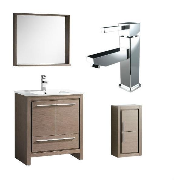 "Fresca Allier 30"" Gray Oak Modern Single Bathroom Vanity w/ Mirror FVN8130 FVN8130GO-FFT1030CH-FST8140GO"