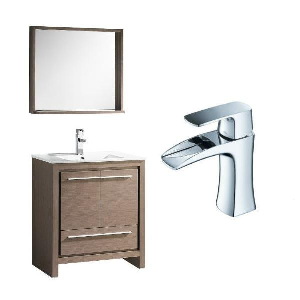 "Fresca Allier 30"" Gray Oak Modern Single Bathroom Vanity w/ Mirror FVN8130 FVN8130GO-FFT3071CH"