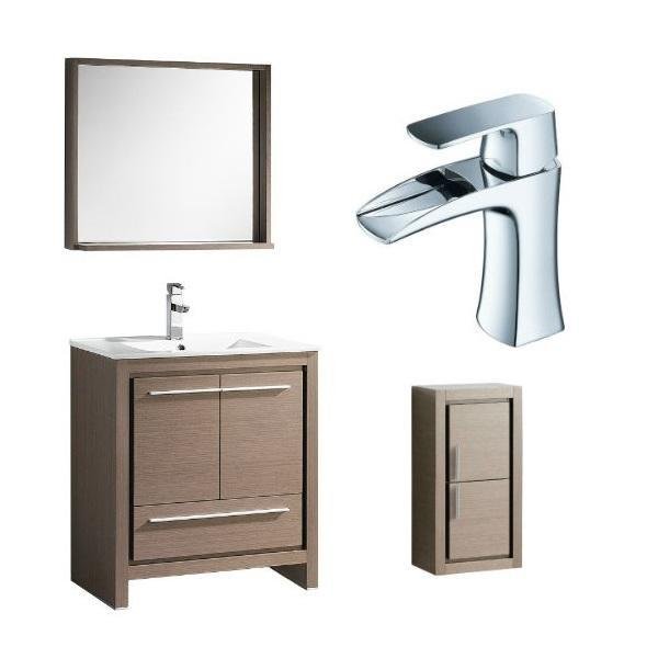 "Fresca Allier 30"" Gray Oak Modern Single Bathroom Vanity w/ Mirror FVN8130 FVN8130GO-FFT3071CH-FST8130GO"