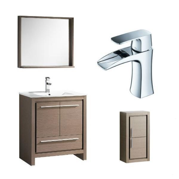 "Fresca Allier 30"" Gray Oak Modern Single Bathroom Vanity w/ Mirror FVN8130 FVN8130GO-FFT3071CH-FST8140GO"