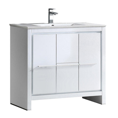 "Image of Fresca Allier 36"" White Modern Bathroom Cabinet w/ Sink FCB8136WH-I"