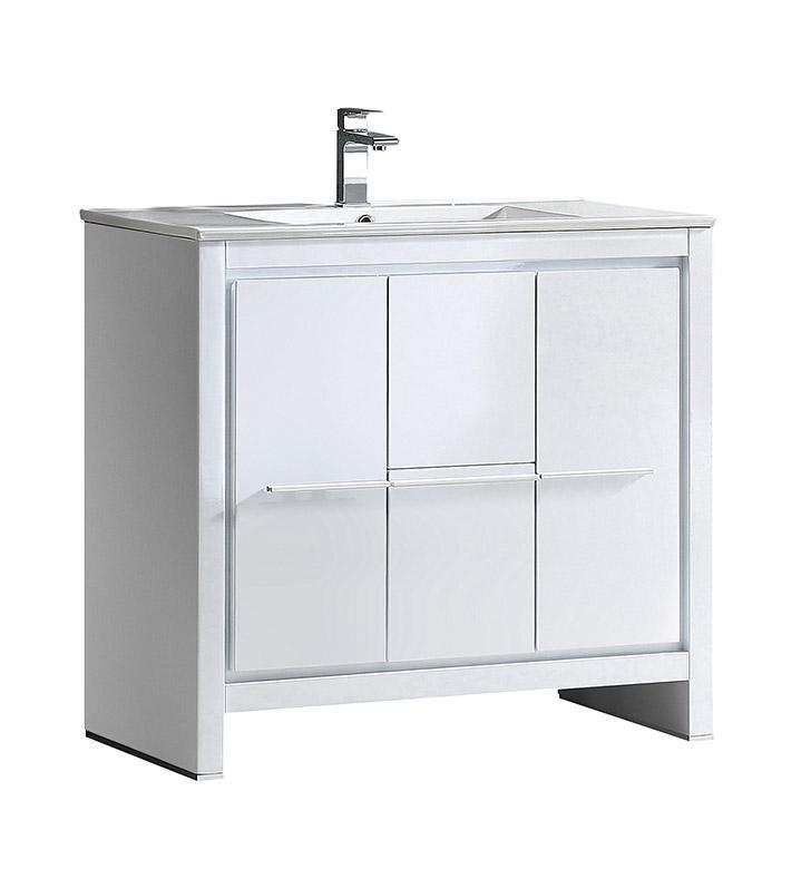 "Fresca Allier 36"" White Modern Bathroom Cabinet w/ Sink FCB8136WH-I"