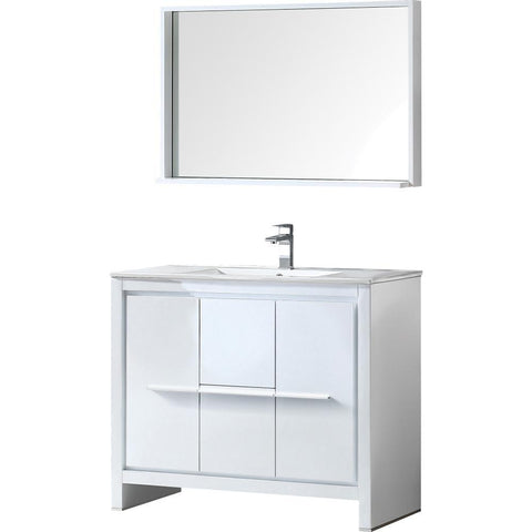"Image of Fresca Allier 40"" Modern Bathroom Vanity FVN8140WH-FFT1030BN"