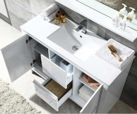 "Fresca Allier 48"" White Modern Single Bathroom Vanity w/ Mirror FVN8148 FVN8148WH-FFT1030BN"