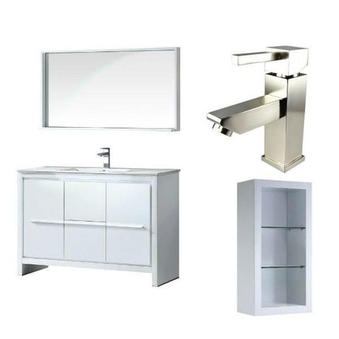 "Fresca Allier 48"" White Modern Single Bathroom Vanity w/ Mirror FVN8148 FVN8148WH-FFT1030BN-FST8130WH"
