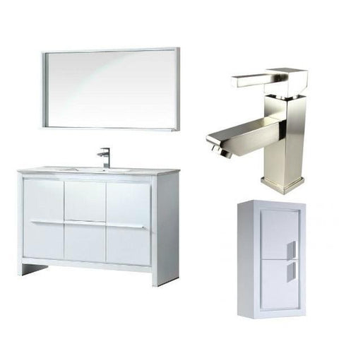 "Fresca Allier 48"" White Modern Single Bathroom Vanity w/ Mirror FVN8148 FVN8148WH-FFT1030BN-FST8140WH"