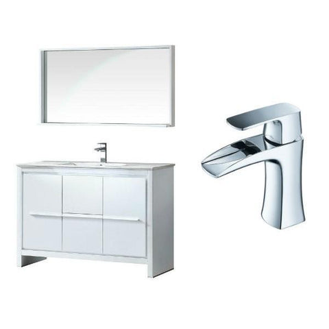 "Fresca Allier 48"" White Modern Single Bathroom Vanity w/ Mirror FVN8148 FVN8148WH-FFT3071CH"
