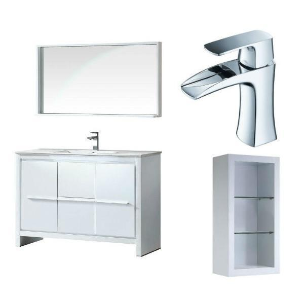"Fresca Allier 48"" White Modern Single Bathroom Vanity w/ Mirror FVN8148 FVN8148WH-FFT3071CH-FST8130WH"
