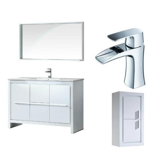 "Fresca Allier 48"" White Modern Single Bathroom Vanity w/ Mirror FVN8148 FVN8148WH-FFT3071CH-FST8140WH"