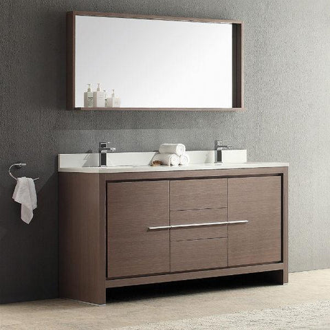 "Image of Fresca Allier 60"" Gray Oak Modern Double Sink Bathroom Vanity w/ Mirror FVN8119 FVN8119GO-FFT1030CH-24"