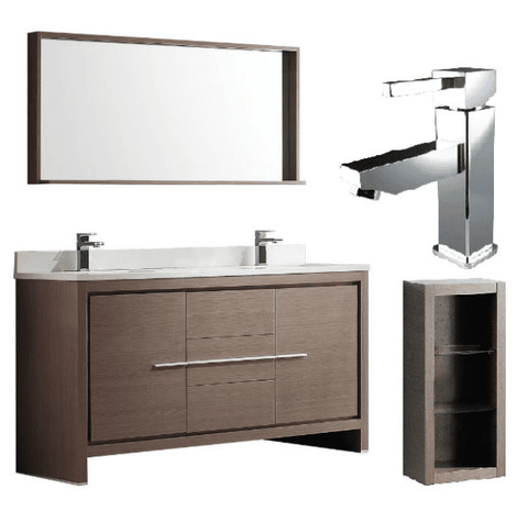 "Fresca Allier 60"" Gray Oak Modern Double Sink Bathroom Vanity w/ Mirror FVN8119 FVN8119GO-FFT1030CH-FST8130GO"