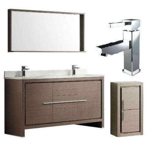 "Fresca Allier 60"" Gray Oak Modern Double Sink Bathroom Vanity w/ Mirror FVN8119 FVN8119GO-FFT1030CH-FST8140GO"