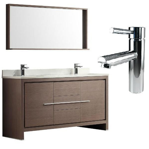 "Fresca Allier 60"" Gray Oak Modern Double Sink Bathroom Vanity w/ Mirror FVN8119"