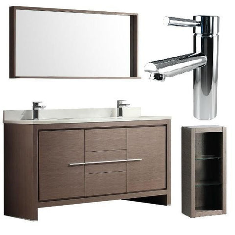 "Fresca Allier 60"" Gray Oak Modern Double Sink Bathroom Vanity w/ Mirror FVN8119 FVN8119GO-FFT1040CH-FST8130GO"
