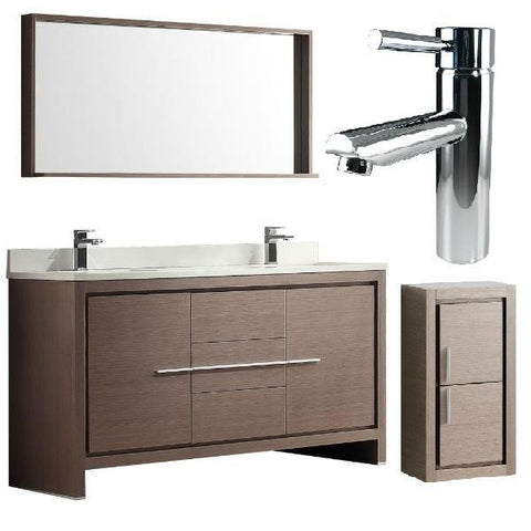 "Fresca Allier 60"" Gray Oak Modern Double Sink Bathroom Vanity w/ Mirror FVN8119 FVN8119GO-FFT1040CH-FST8140GO"