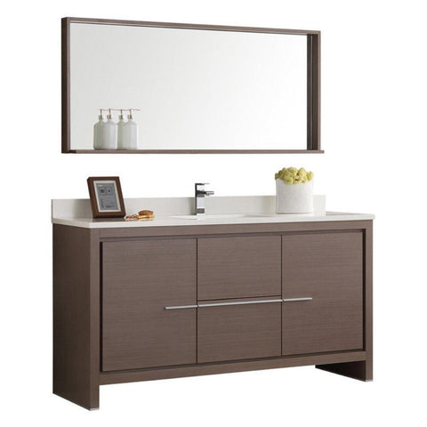 "Image of Fresca Allier 60"" Modern Single Sink Vanity FVN8119GO-S-FFT1030BN"