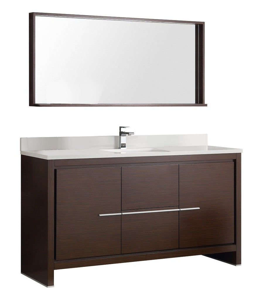 "Fresca Allier 60"" Modern Single Sink Vanity FVN8119WG-S-FFT1030BN"