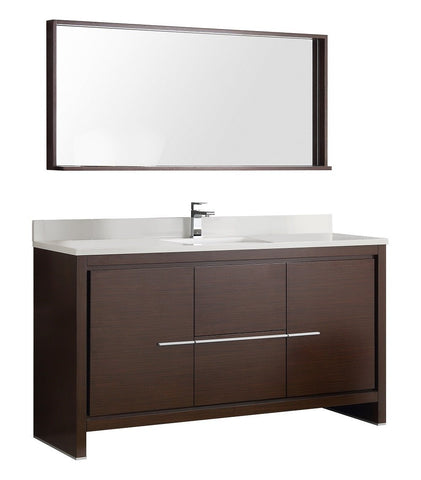 "Image of Fresca Allier 60"" Modern Single Sink Vanity FVN8119WG-S-FFT1030BN"